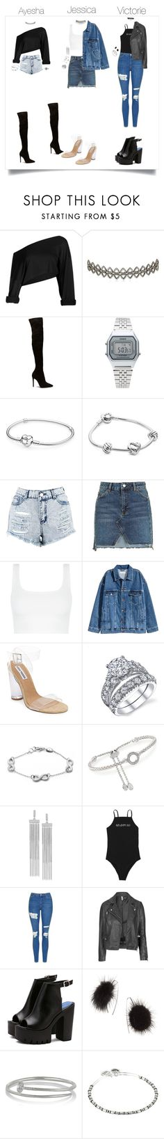 """Denim + Black Y White Sisters"" by psannahia ❤ liked on Polyvore featuring Assya London, Casio, Pandora, Boohoo, Topshop, Steve Madden, Charles Garnier, BCBGeneration, Kenneth Jay Lane and Alex and Ani"