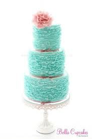 Teal ruffled cake with pink accents... It would be so pretty with a sunflower