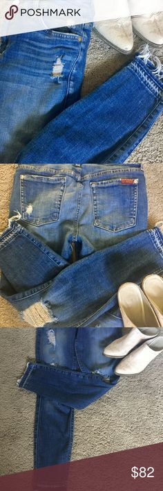 7 for all Mankind The Ankle Skinny Medium deep blue wash. Ankle Skinny Distressed with Raw Hem, elastic waste. Rise 8 inseam 26 worn once extremely comfortable but a size too big for me someone will Love them! 7 For All Mankind Jeans Skinny