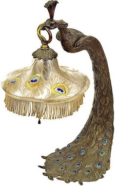 Art Nouveau Peacock Lamp with Glass Shade