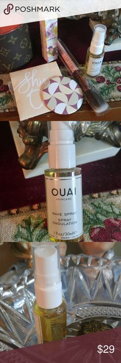 Set of 4 Beauty Brand Products/ FLASH SALE OUAI Hair care Wave Spray 1fl oz., SERAPHINE BOTANICAL Luminude primer 0.35fl.oz,  LUXIE 514 Blush Natural hair., Compact Mirror. NO OFFER ONLY TODAY SALE Ouai Makeup Blush