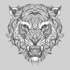 Taking my base style and pushing it towards a more realistic tone! Japanese Tattoo Symbols, Animal Drawings, Tattoo Drawings, Tiger Drawing, Animal Tattoo, Japanese Tattoo Art, Japanese Tattoo, Tiger Tattoo Design, Tiger Illustration