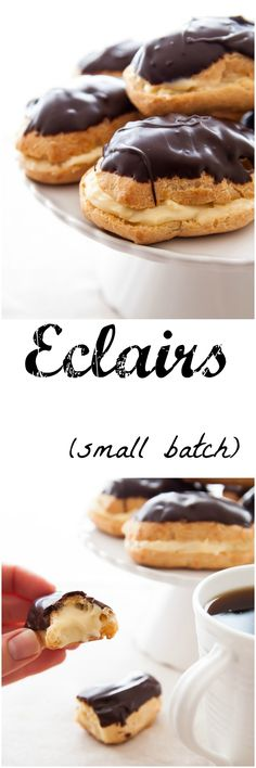 Eclairs made from scratch. Easier than you think plus easy pastry cream recipe. Small batch recipe so quick to make! Eclairs made from scratch. Easier than you think plus easy pastry cream recipe. Small batch recipe so quick to make! Mini Desserts, Just Desserts, Delicious Desserts, Dessert Recipes, Yummy Food, French Desserts, Plated Desserts, Chocolate Eclair Recipe, Chocolate Eclairs
