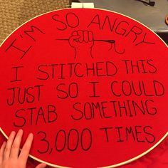 """And @womensmarchchi embroidered protest sign is hooped and ready! @womensmarch #notmypresident"""
