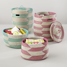 The Land of Nod | Kids Storage: Snake Charmer Storage Baskets in Storage Collections. Aqua