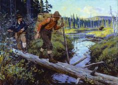 Phillip Goodwin. AN UNEXPECTED GAME oil on canvas Winchester Firearm advertisement