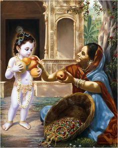Child Krṣṇa immediately took some grains in His palm and went to get fruits in exchange. But His palms were very small, and He was not very careful to hold them tight, so He was dropping the grains. The vendor who came to sell fruits saw this &was very much captivated by the beauty of the Lord, so she immediately accepted whatever few grains were left in His palm and filled His hands with fruits. In the meantime, the vendor saw that her whole basket of fruit had become filled with jewels.