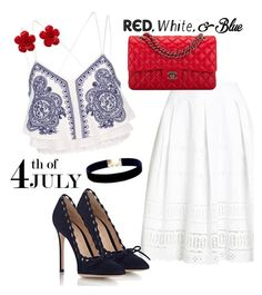 """White Skirt"" by sara12alexandra ❤ liked on Polyvore featuring Superdry, River Island, Gianvito Rossi, Chanel and Vanessa Mooney"