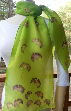 Hand-painted Silk Scarf Ginkgo Leaves by DragonflyDesignWest
