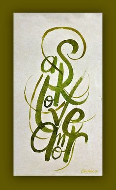 Word of love in three language. Brush calligraphy by Omer Faruk Dere
