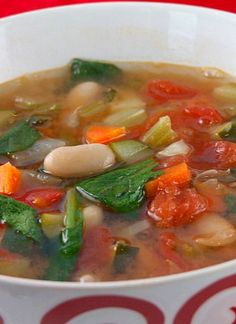 Tuscan Vegetable Soup Recipe ~ Says: Really great, low cal soup. Very easy to make too! Add chicken to make it more of a meal.