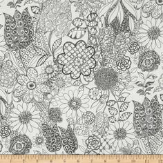 The Ghastlies Ghastly Garden Natural from @fabricdotcom  Designed by DeLeon Design Group for Alexander Henry, this cotton print is perfect for quilting, apparel and home decor accents.  Colors include black and white.