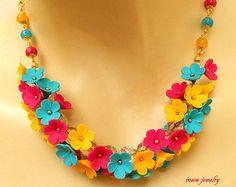 Colorata collana fiore collana Collana Boho istruzione dimenticare Me non Handmade collana giada gioielli regalo per i suoi gioielli floreali