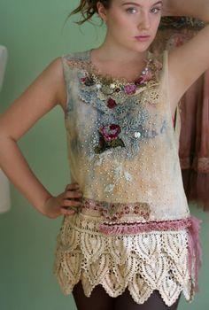 Summer rain romantic hand embroidered  textile by FleurBonheur, $224.00