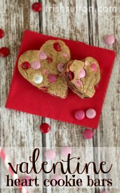 A sweet way to share your love on Valentine's Day. Valentine Heart Cookie Bars! TrishSutton.com