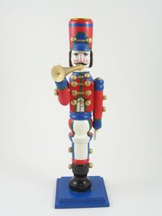 Blue & Red Wooden Toy Soldier Nutcracker Candlestick Playing Horn Christmas
