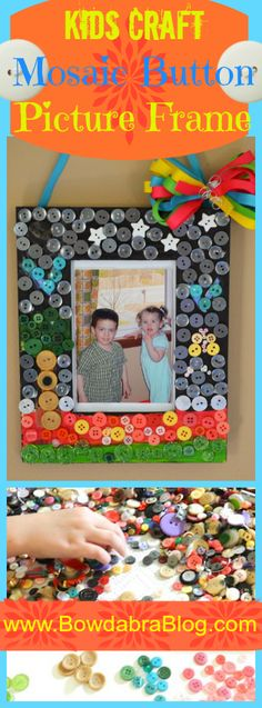 Kids Craft Mosaic Button Picture Frame