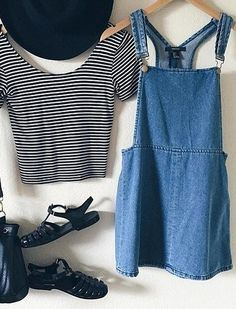 Get the look in our Striped Crop Tops & Denim Overall Skirts WWW.SHOPPUBLIK.COM