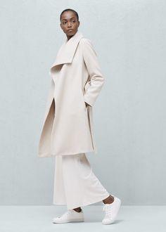 Manteau laine maxi revers -  Femme | MANGO