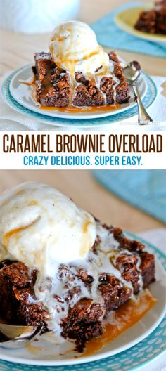 Caramel Overload Brownies - start with a box mix if you want. Sweet Desserts, Just Desserts, Sweet Recipes, Delicious Desserts, Dessert Recipes, Yummy Food, Dessert Ideas, Caramel Brownies, Chocolate Brownies