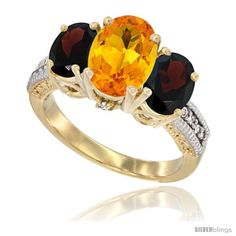 14K Yellow Gold Ladies 3-Stone Oval Natural Citrine Ring with Garnet Sides Diamond Accent - SilverBlings