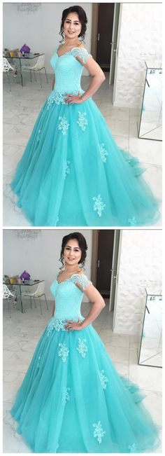 Charming Blue Tulle Long Prom Dress with Appliques, Shop plus-sized prom dresses for curvy figures and plus-size party dresses. Ball gowns for prom in plus sizes and short plus-sized prom dresses for Dresses Short, A Line Prom Dresses, Formal Dresses For Women, Cheap Prom Dresses, Trendy Dresses, Evening Dresses, Dress Long, Quinceanera Dresses, Dress Prom