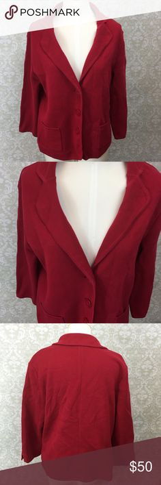 ❄️TALBOTS Red Knit Blazer Sweater ~Get this red button sweater! ~Be casual yet business ready with this piece! ~This is made with knit sweater material.  This is in the style of a blazer. ~This has been worn a few times.  This is in great condition! ~Get this now! This will go fast! ~NO TRADES Talbots Sweaters