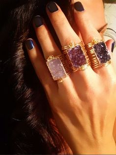 Druzy Rectangle Wrap Rings make everything better! Jewelry Rings, Jewlery, Jewelry Accessories, Fashion Accessories, Jewelry Design, Fashion Jewelry, Jewelry Box, Druzy Jewelry, Bohemian Accessories