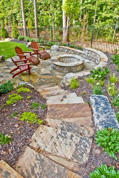 Stone patio and fire pit ideas!