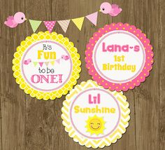 Little Sunshine Pink and Yellow Chevron Birthday Party Rounds Cupcake Toppers- Printable on Etsy, $8.00