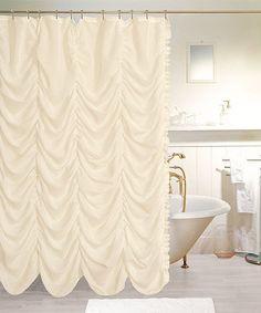 Ivory Theater Gathered Shower Curtain #hometheatertips