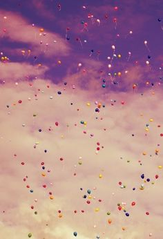 Colorful balloons released instead of confetti