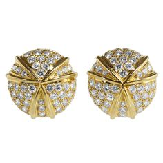 Harry Winston Diamond Gold Bombe Earclips | From a unique collection of vintage clip-on earrings at https://www.1stdibs.com/jewelry/earrings/clip-on-earrings/