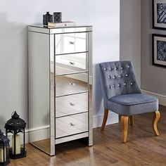 Mirrored Bedroom Furniture Hy Beds Seville Silver Narrow 5 Drawer Chest Height 123 Cm
