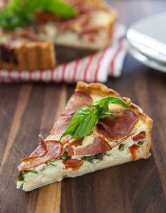 Pepperoni Pizza Quiche  by EclecticRecipes.com