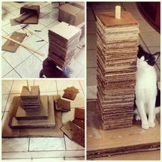 Homemade cat tower made from cardboard boxes. - Ok, the one thing I always have around here is an abundance of cardboard boxes - she'd LOVE to rub against the edges of these pieces!