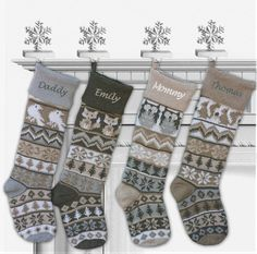28 Knit Fair Isle Christmas Stockings in Modern Cream Beige Grey Color Tones! Our very BEST and the most luxurious knitted stockings are sure to take your Christmas decor to a new level. They are VERY LARGE - LONG stockings, fit for lots of stocking stuffers. These retail at $50 unpersonalized in the finest stores, so get-em while they last. And yes, personalization or monogram is free! Choice of different designs so you can make a set.  Update 12-15 DELIVERY FOR CHRISTMAS ( TO U.S.A…
