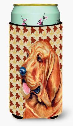 Bloodhound Fall Leaves Portrait Tall Boy Beverage Insulator Beverage Insulator Hugger