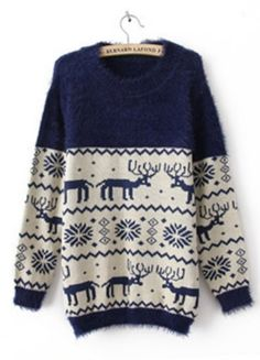 Blue Long Sleeve Deer Snowflake Embroidery Sweater