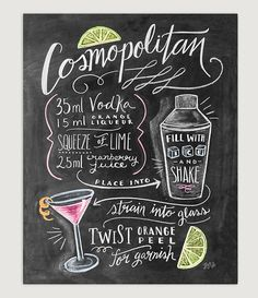 Bar Cart Print Cosmopolitan Kitchen Chalk Art by LilyandVal