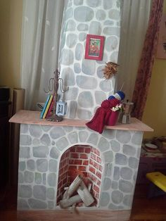cardboard fireplace...