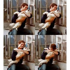 Chris Pine with a puppy.