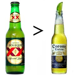 Dos Equis is greater than Corona but I like them both :)