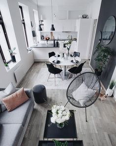 Living room furniture for your home small living room design, small living Living Room Grey, Small Living Rooms, Living Room Kitchen, Living Room Furniture, Living Room Decor, Kitchen Grey, Kitchen Small, Kitchen Ideas, Kitchen Layout