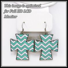 Turquoise white chevron cross earrings