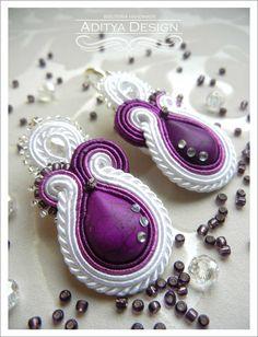 Wedding Earrings, White Purple, Soutache Earrings, Handmade Jewelry, White Earrings, Statement Jewelry, Dangling earrings, Bridal Jewelry, Amithi Model by AdityaDesign