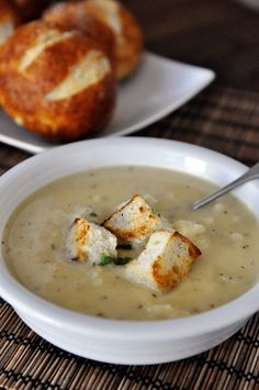 Recipe For Roasted Cauliflower and White Cheddar Soup - It's roasted cauliflower and fragrant garlic, savory thyme and sharp white cheddar. Basically, it's amazing.