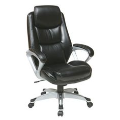 @Overstock - Enjoy pure comfort as you tackle the day's work with this leather chair with padded arms. This chair is also stylish with its sleek, black leather and silvertone accents. The thick padding on this chair offers extreme comfort and support. http://www.overstock.com/Office-Supplies/Office-Star-Products-Executive-Eco-Leather-Chair-with-Padded-Arms/6478932/product.html?CID=214117 $215.13
