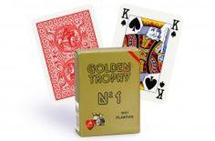 Cartes Golden Trophy 4 index (rouge) - Pokeo.fr - Jeu de 52 cartes Modiano Golden Trophy 100% plastique, format Poker 4 index de couleur rouge.