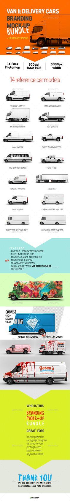 Van & Delivery Cars Branding Mockup Bundle - Vehicle Wraps Print                                                                                                                                                     Mais